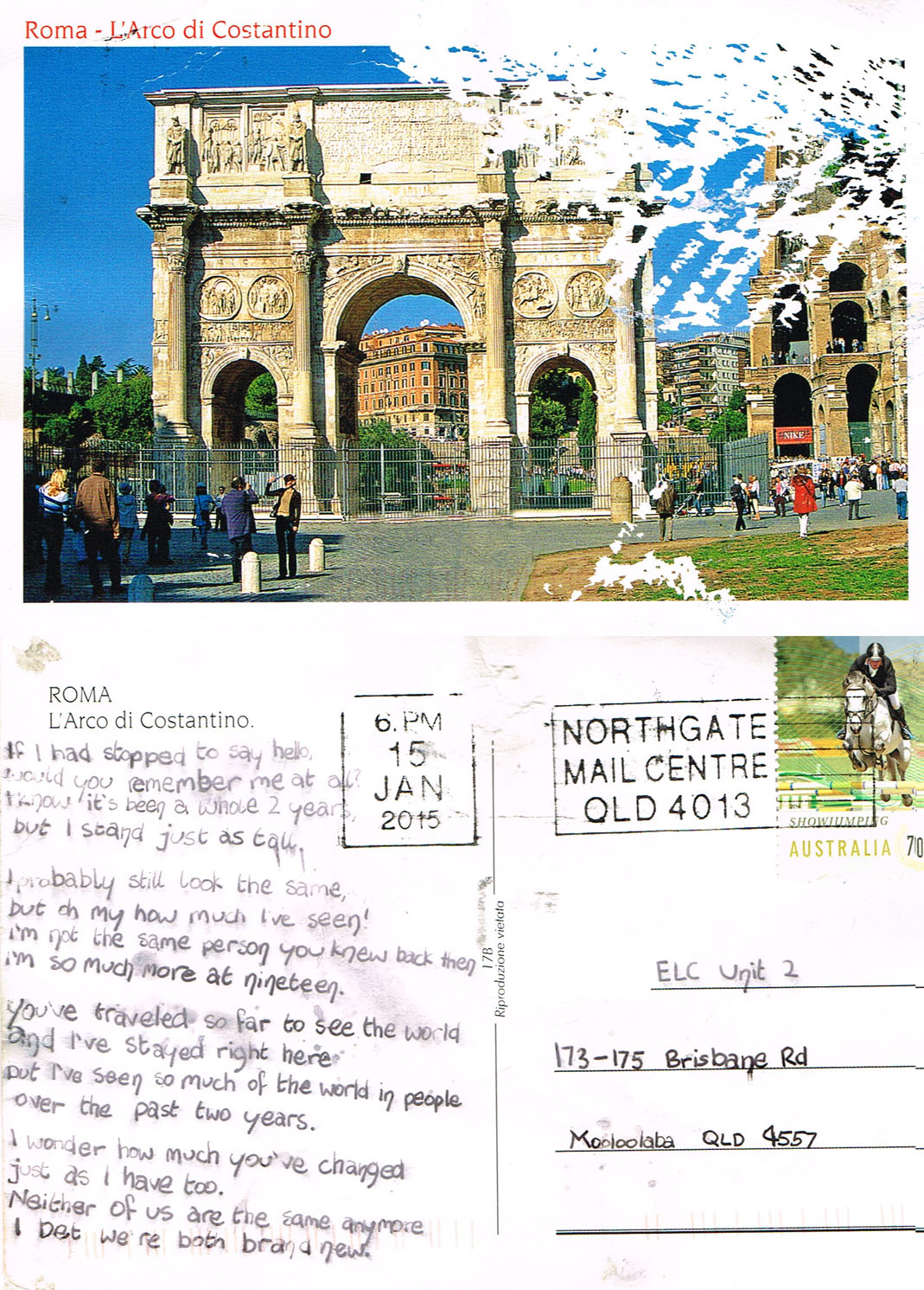 Postcard from former Extended Learning Centres student who travelled to Rome.
