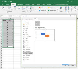 Microsoft Excel 2016 Box and Whisker Plot