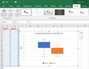 Microsoft Excel 2016 Box and Whisker Plot formatted